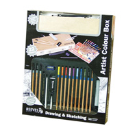 Reeves Artist Colour Box Drawing & Sketching Wood Box Set